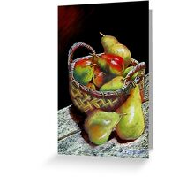 Pears and Apples  Pastel painting Greeting Card
