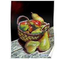 Pears and Apples  Pastel painting Poster
