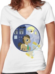 The Doctor and the Assistant  Women's Fitted V-Neck T-Shirt