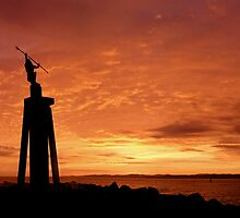 Spirit of the Sea Statue on sunrise - Devonport by Cody Williams