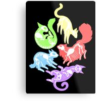 Creepy Kitties in Color Metal Print