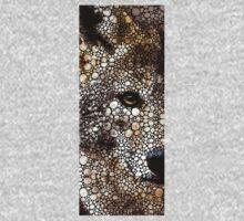 Stone Rock'd Wolf Art by Sharon Cummings Kids Tee