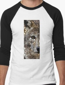 Stone Rock'd Wolf Art by Sharon Cummings Men's Baseball ¾ T-Shirt