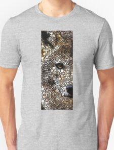 Stone Rock'd Wolf Art by Sharon Cummings T-Shirt
