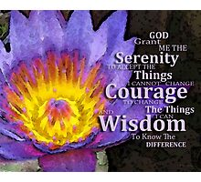 Serenity Prayer With Lotus Flower By Sharon Cummings Photographic Print
