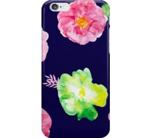 Watercolor flowers on blue iPhone Case/Skin