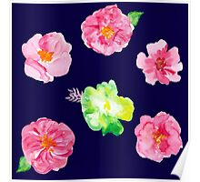 Watercolor flowers on blue Poster
