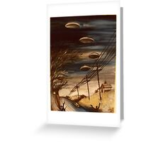 Interstellar Visitors In A Country Town Overdrive Greeting Card