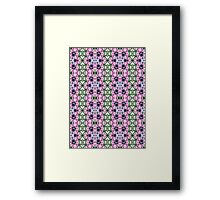 Pink, Green and White Abstract Design Pattern Framed Print