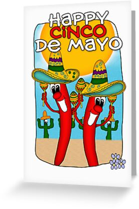 cinco de mayo chilli peppers with sombrero by Moonlake