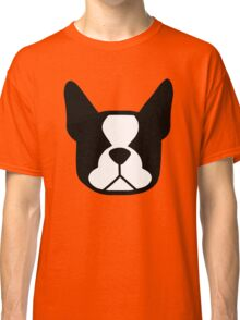 boston terrier face silhouette in black and white Classic T-Shirt