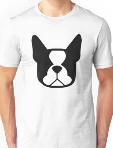 boston terrier face silhouette in black and white Unisex T-Shirt