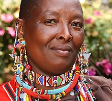 Portrait of a Maasai (or Masai) Woman, East Africa  by Carole-Anne
