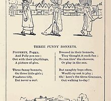 Miniature Under the Window Pictures & Rhymes for Children Kate Greenaway 1880 0021 The Funny Bonnets by wetdryvac