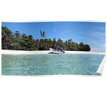 Pristine tropical shore with boat landed on the beach Poster