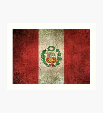 Old and Worn Distressed Vintage Flag of Peru Art Print