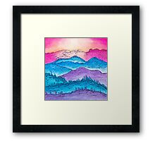 Sunset over the Mountains Framed Print