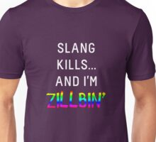 Slang Kills... (white/rainbow) Unisex T-Shirt