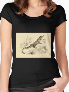 The Reptiles of British India by Albert C L G Gunther 1864 0493 Crocodilus Pondicerianus Crocodile Women's Fitted Scoop T-Shirt