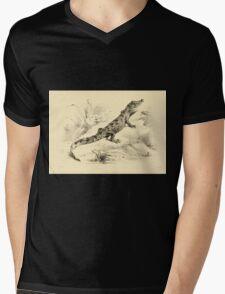 The Reptiles of British India by Albert C L G Gunther 1864 0493 Crocodilus Pondicerianus Crocodile Mens V-Neck T-Shirt
