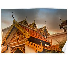 Roof dressing of Buddhist monastary Poster