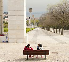 on a bench overlooking lisbon by filipmije