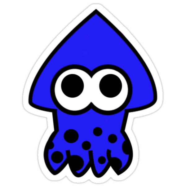 Splatoon blue squid quot stickers by paigep605 redbubble