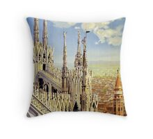 Milano Italy Vintage Travel Poster Restored Throw Pillow