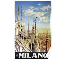 Milano Italy Vintage Travel Poster Restored Poster