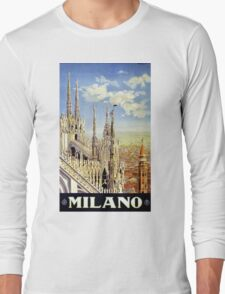 Milano Italy Vintage Travel Poster Restored Long Sleeve T-Shirt