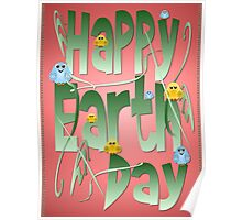 Happy Earth Day with Birds Poster