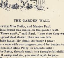 Miniature Under the Window Pictures & Rhymes for Children Kate Greenaway 1880 0042 The Garden Wall Sticker