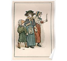 Kate Greenaway Almanack 1893 0030 October with Candles and Lantern Poster