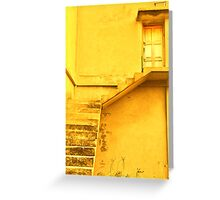 Take the yellow stairs up and it's the yellow door on your left...you can't miss it!  Greeting Card