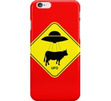 UFO traffic hazard sign iPhone Case/Skin