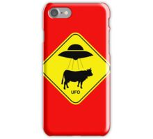 UFO traffic hazard sign iPhone Case/Skin