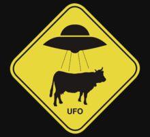 UFO traffic hazard sign Kids Tee