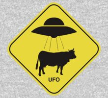 UFO traffic hazard sign Kids Tee