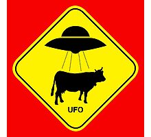 UFO traffic hazard sign Photographic Print
