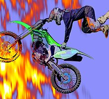 High Flying Freestyle Motocross Rider by Val  Brackenridge