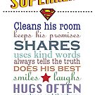 real superhero - family plaque in white by Lauren Eldridge-Murray