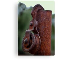 RUSTY HOOK AND PULLEY Canvas Print