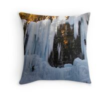 Ice Climbing - Johnston Canyon Throw Pillow