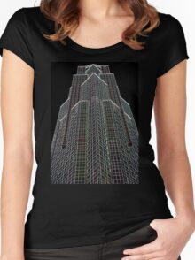 Office Block Abstract Women's Fitted Scoop T-Shirt