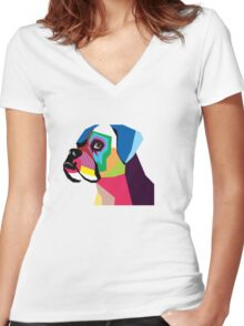 boxer  Women's Fitted V-Neck T-Shirt