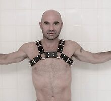 Bald man in leather by Lee Lee