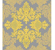 Golden Folk - doodle pattern in yellow & grey Photographic Print