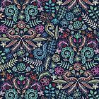 Colored Chalk Floral Doodle Pattern by micklyn