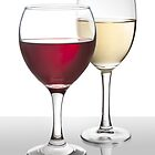 Glasses of Red and White Wine by Peter Stone