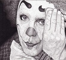 Clown, Ink Drawing by RIYAZ POCKETWALA